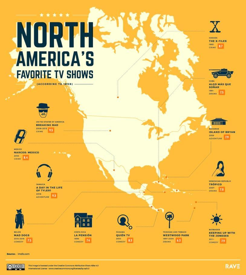 La mappa delle serie TV più amate in Nord America stilata da Rave Reviews