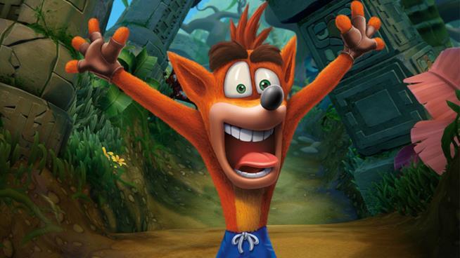 Il buffo faccione di Crash Bandicoot
