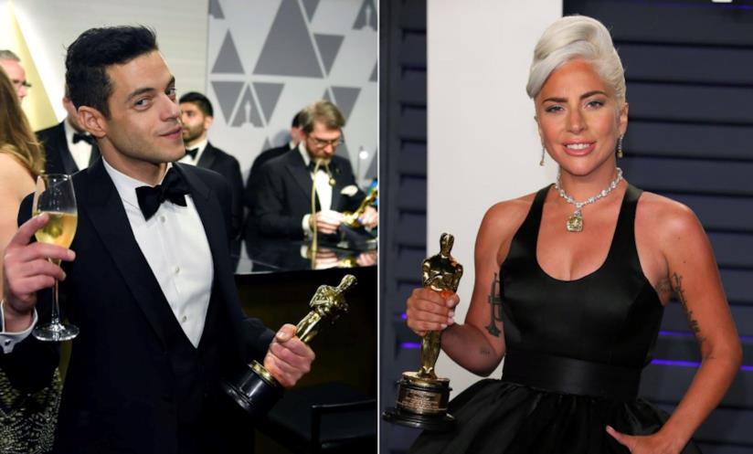 Collage tra Lady Gaga e Rami Malek