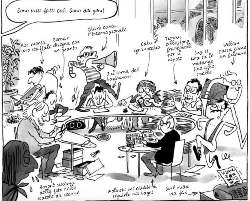 I vignettisti di Charlie Hebdo al lavoro