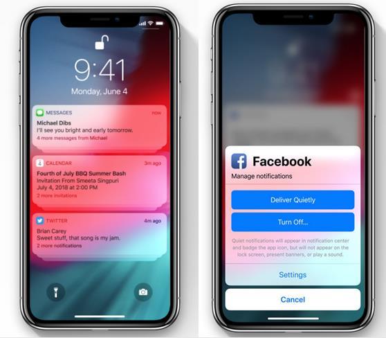 Dettagli sulle nuove funzioni per le Notifiche Push in iOS 12