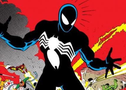 Cover di Secret wars #8 con il costume nero di Spider-Man