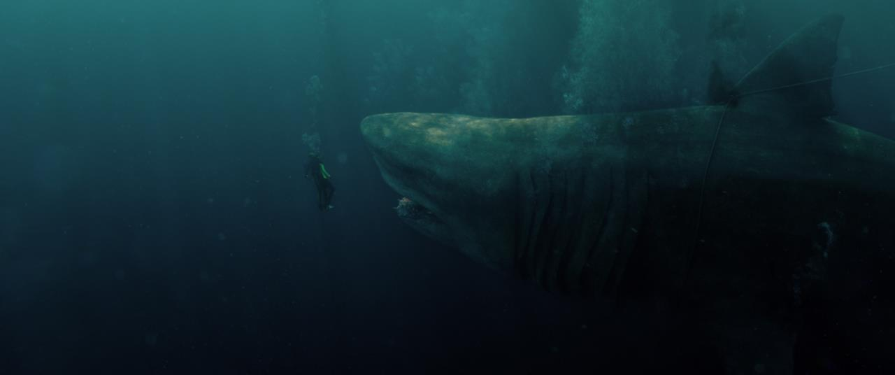 Scena di Shark - Il primo squalo con Meg faccia a faccia con un sub