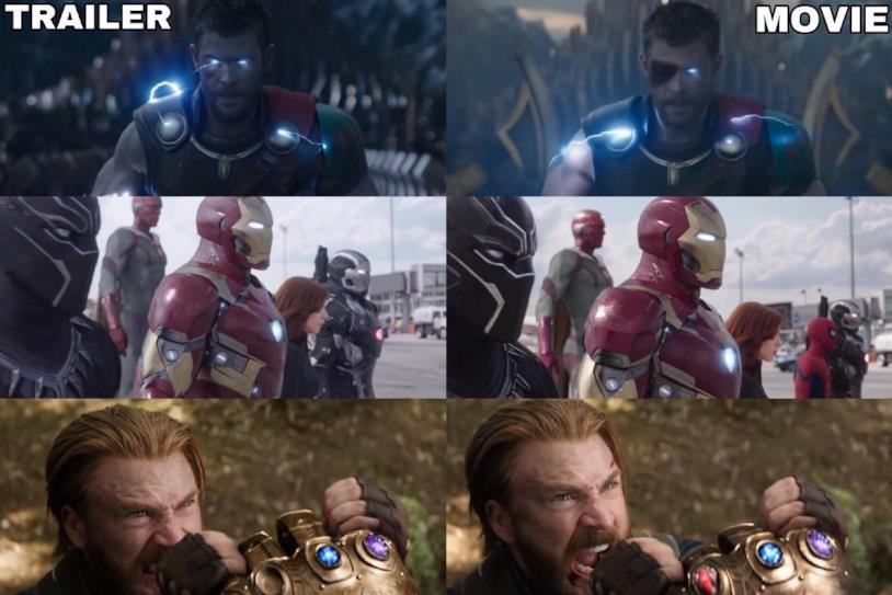 Le comparazioni tra i film Marvel Studios e i corrispettivi trailer