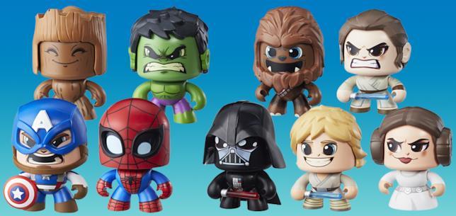 Alcuni dei Mighty Muggs degli Avengers e di Star Wars