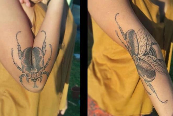 Il tatuaggio pieghevole fatto da Menace Tattoo per la convention