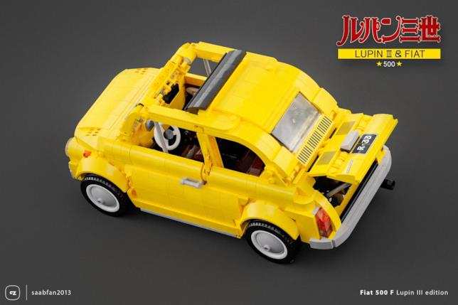 Panoramica dall'alto del set LEGO Fiat 500 F di Lupin III