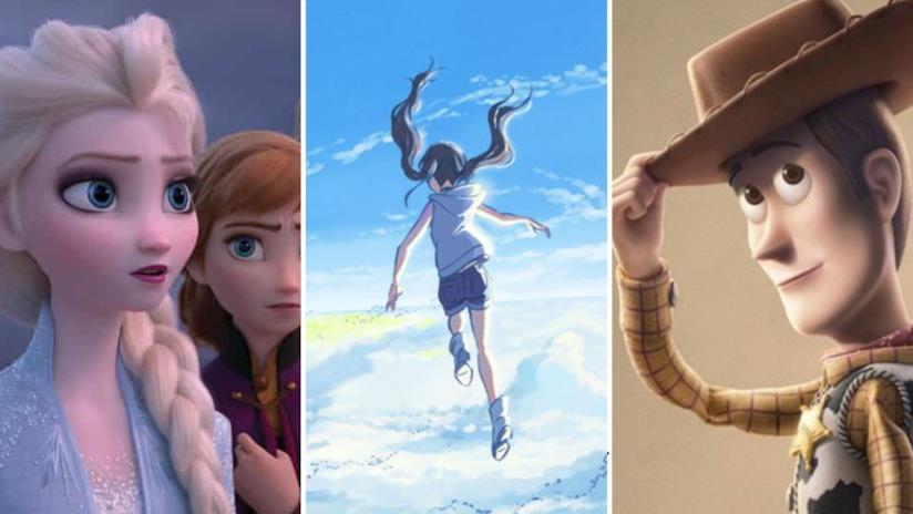 Da sinistra immagini di Elsa e Anna da Frozen II, Hina da La ragazza del tempo e Woody da Toy Story