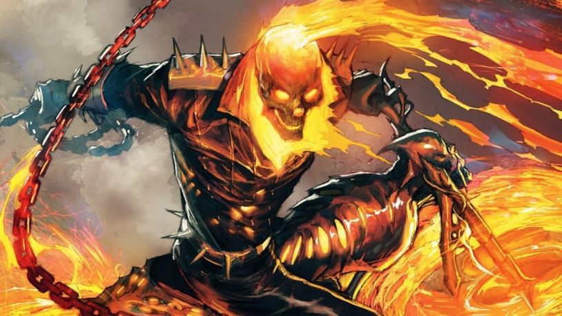 Ghost Rider sulla sua demoniaca moto