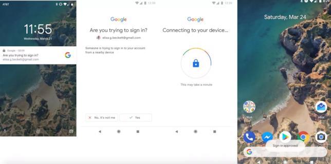 Screen che mostrano il nuovo metodo d'autenticazione di Google