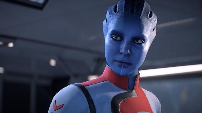 Primo piano di una asari da Mass Effect: Andromeda