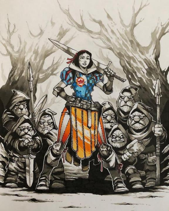 Biancaneve in versione guerriera disegnata da Artemii Myasnikov.