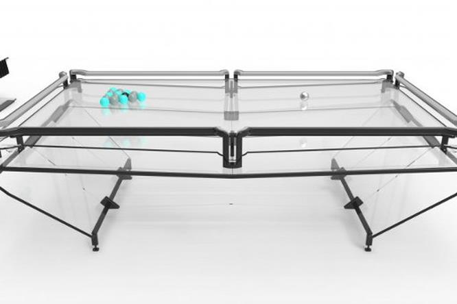 Il particolare design del tavolo da biliardo realizzato in Vitrik.