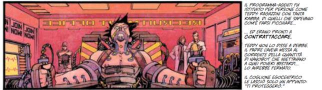Vignetta di Tokyo Ghost con la trasformazione di Teddy in Led