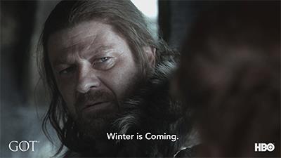 Ned Stark pronuncia la sua iconica frase in una sequenza della prima stagione di Game of Thrones