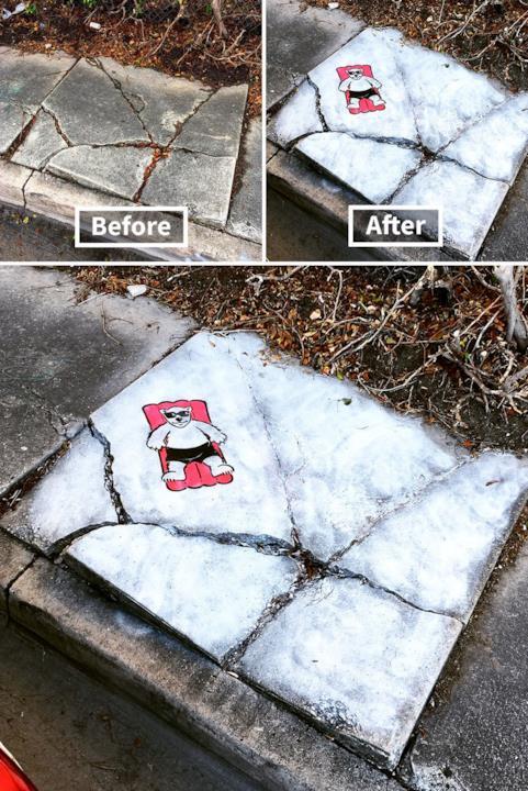Le creazioni di Tom Bob: mattonella spaccata diventa un iceberg dove riposa un orso bianco