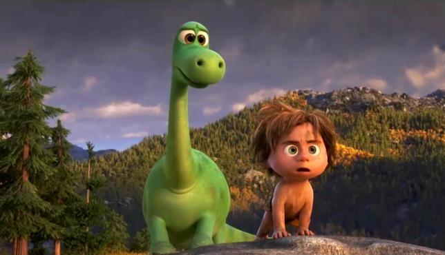 Arlo e Spot in una scena del film