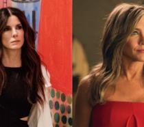Primi piani di Sandra Bullock e Jennifer Aniston in Ocean's 8 e The Morning Show