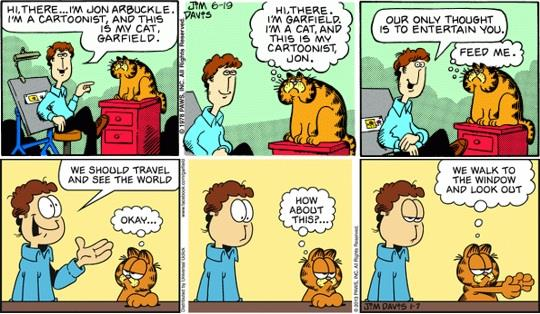Due strisce sequenziali a fumetti nelle quali compare Garfield che dialoga con il padrone