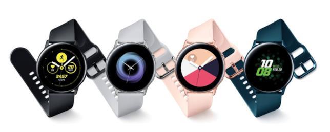Immagine stampa della varianti del Galaxy Watch Active di Samsung