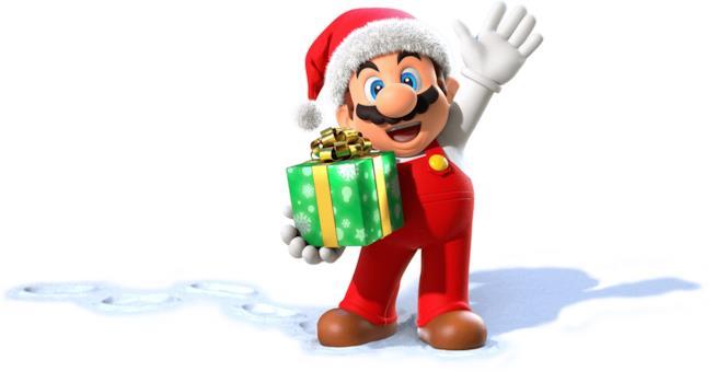 Super Mario vestito da Santa Claus
