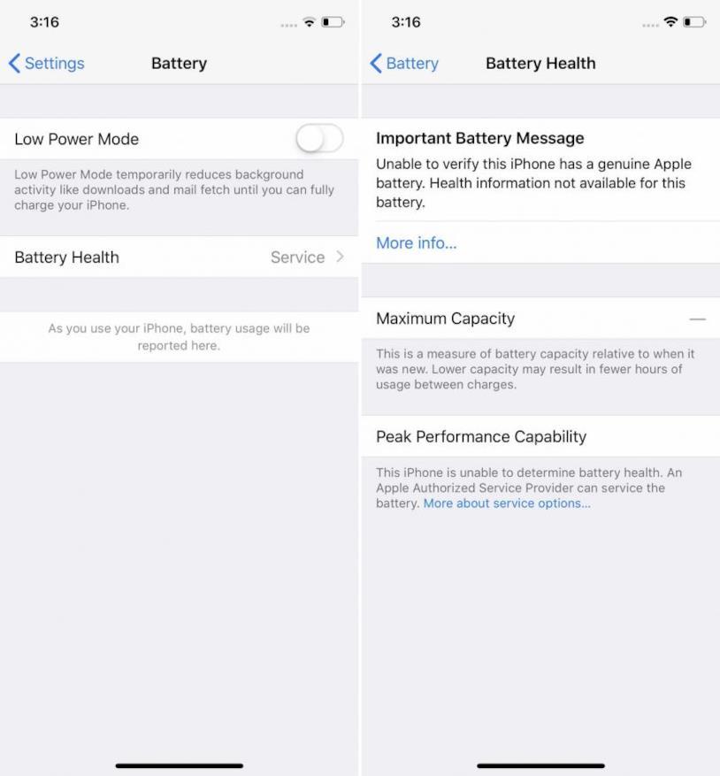 Screen delle impostazioni interne della batteria dei dispositivi iOS
