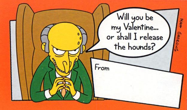 Il Signor Burns biglietto di San Valentino