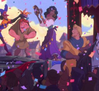 Una scena del cartone animato Disney Il Gobbo di Notre-Dame