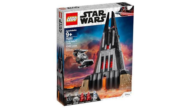 Primo piano del box del set LEGO Il Castello di Darth Vader