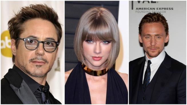 Primo piano di Robert Downey Jr., Tom Hiddleston e Taylor Swift