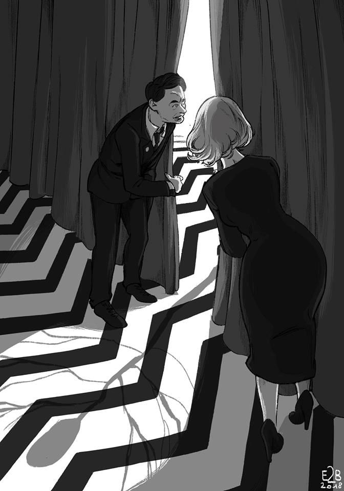 Un'illustrazione dedicata a Twin Peaks
