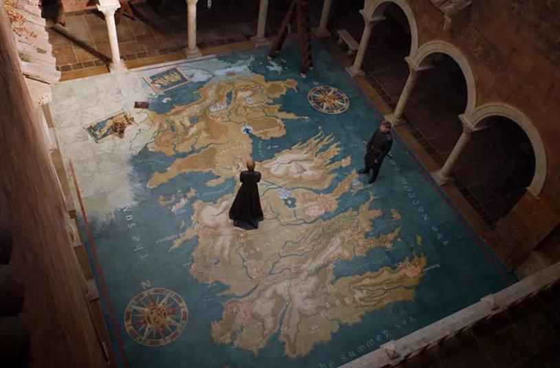 La mappa di Westeros, inquadrata durante un episodio di Game of Thrones
