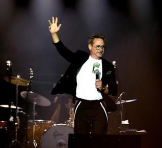 Robert Downey Jr. sul palco del concerto dei Rolling Stones