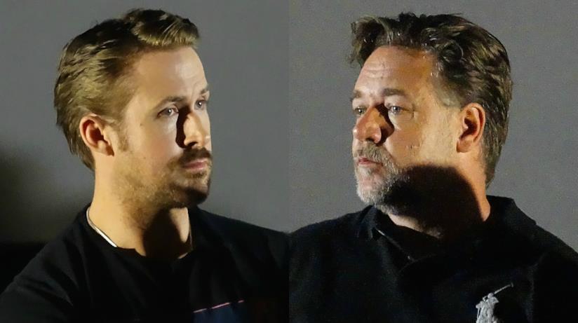 Ryan Gosling e Russell Crowe durante la conferenza stampa di The Nice Guys a Roma