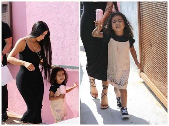 Kim Kardashian con la flglia North West