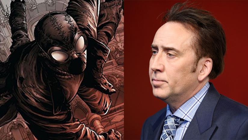 Primo piano di Nicolas Cage e Spider-Man Noir