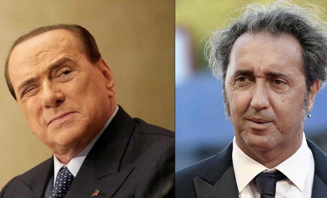 Un collage tra Silvio Berlusconi e Paolo Sorrentino