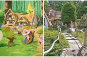 Un collage tra la casa di Biancaneve del film d'animazione e ll cottage esistente nella realtà