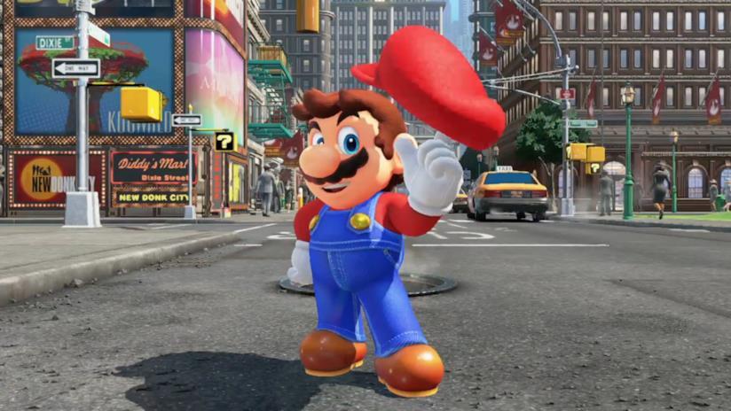 Mario gioca con il suo cappello nel trailer di Super Mario Odyssey