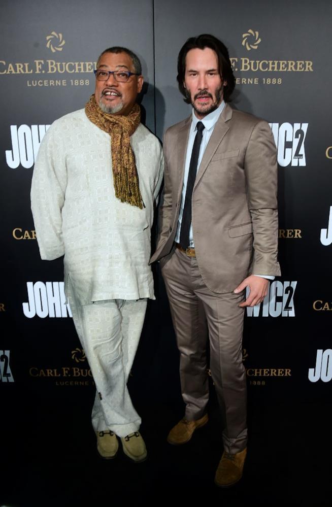Keanu Reeves e Laurence Fishbourne alla reunion di Matrix, alla prima di John Wick 2