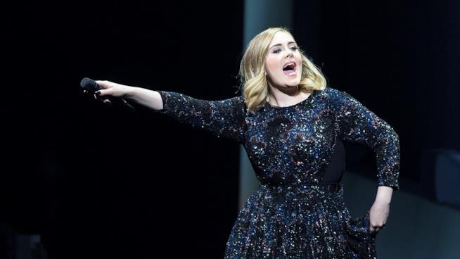 Primo piano di Adele in concerto