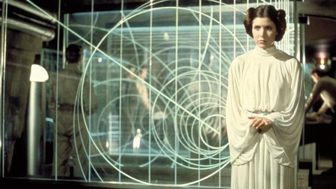 Carrie Fisher nel ruolo della Principessa Leia in Star Wars