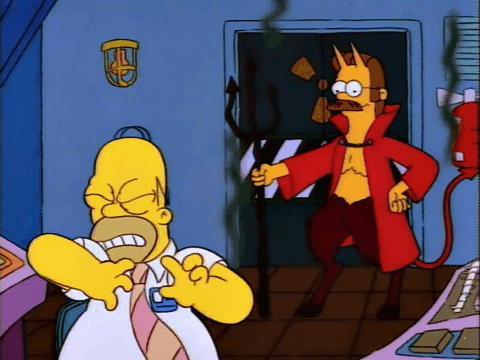 Ned Flanders appare a Homer e si rivela come il Diavolo