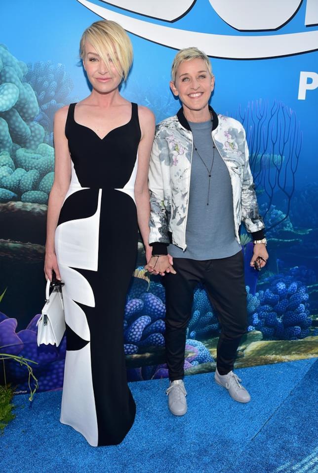Ellen DeGeneres e Portia De Rossi all'anteprima di Alla Ricerca di Dory