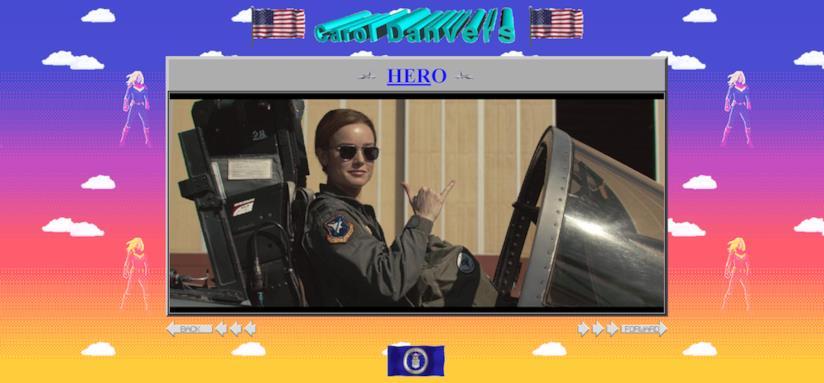 Screen del sito ufficiale di Captain Marvel