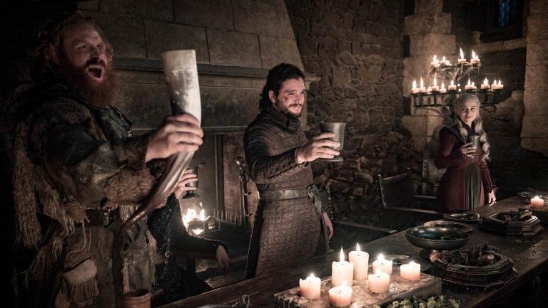 Tormund, Jon e Daenerys in Game of Thrones 8