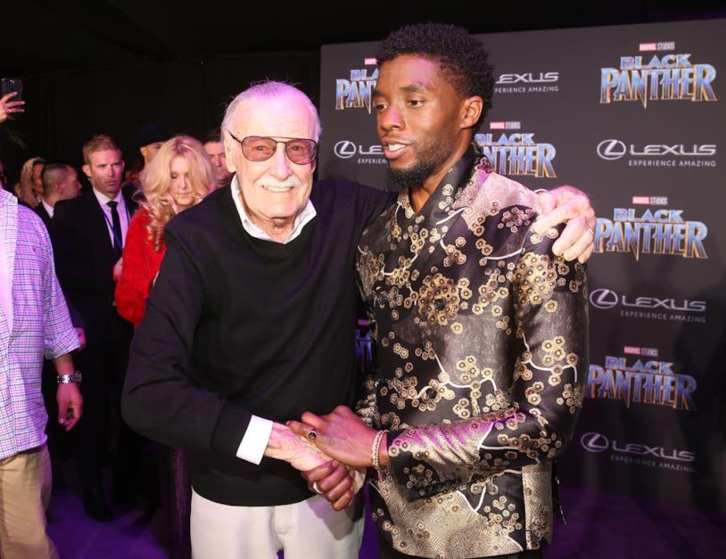 Stan Lee e Chadwick Boseman alla prima di Black Panther