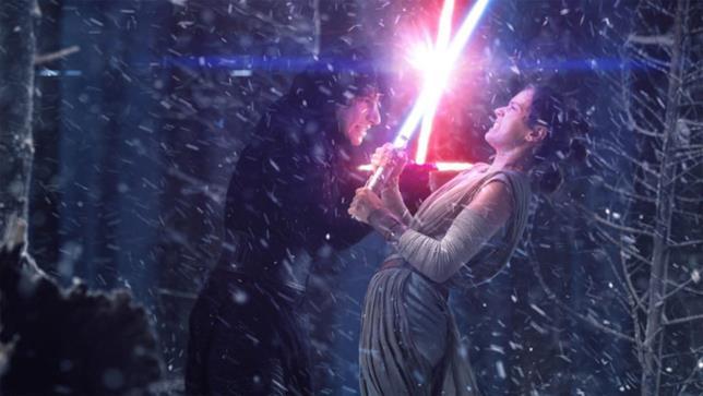 La scena del combattimento tra Rey e Kylo Ren in Star Wars