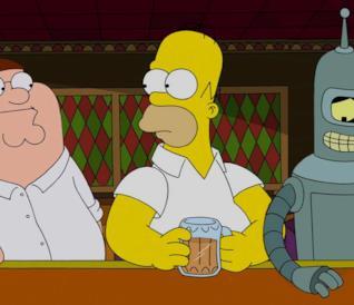 Peter, Homer e Bender, tre famosi bevitori della TV