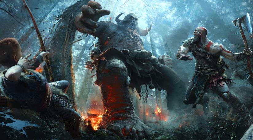 Kratos e suo figlio combattono in God of War per PS4
